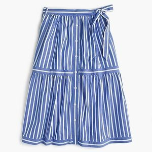 J Crew button front striped skirt.